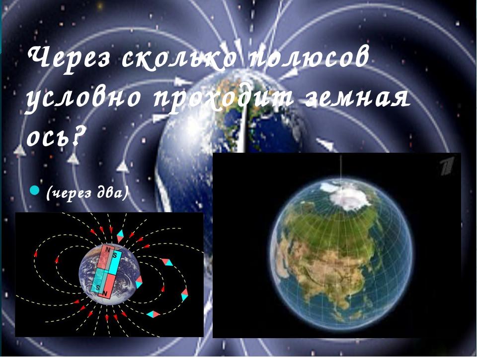 Через сколько полюсов условно проходит земная ось? (через два)