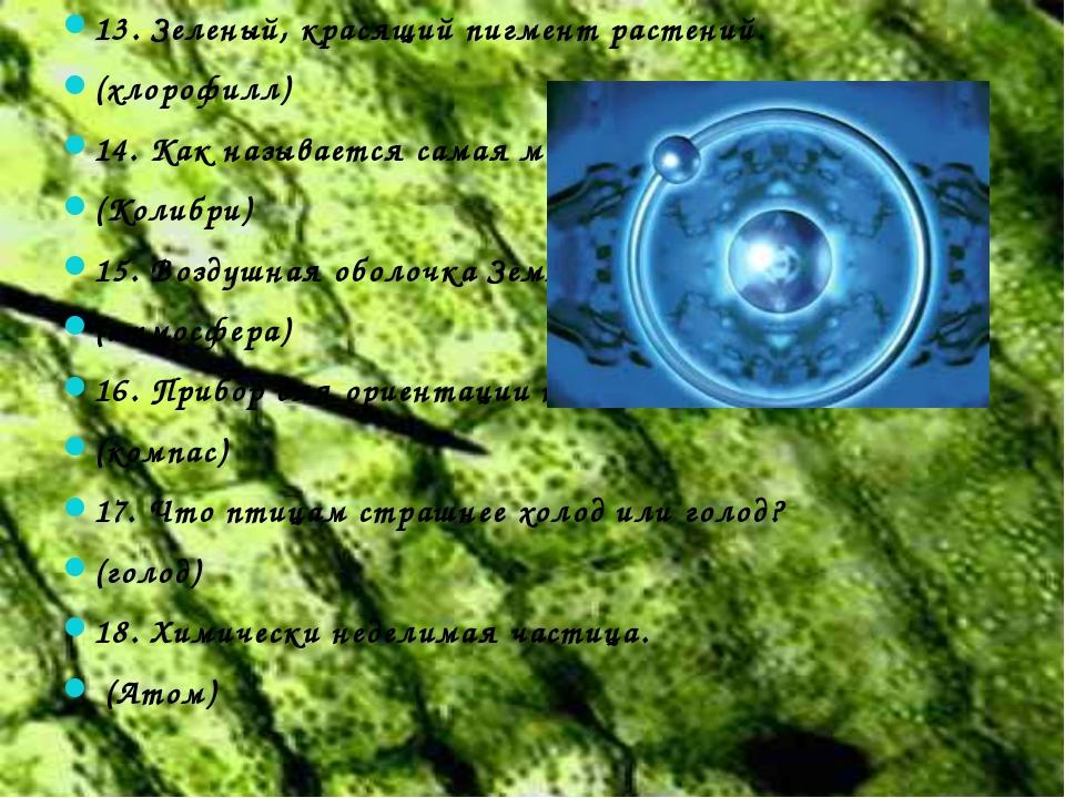 13. Зеленый, красящий пигмент растений. (хлорофилл) 14. Как называется самая...