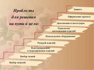 Проблемы для решения на пути к цели: Выбор моделей Выбор тканей Конструирова