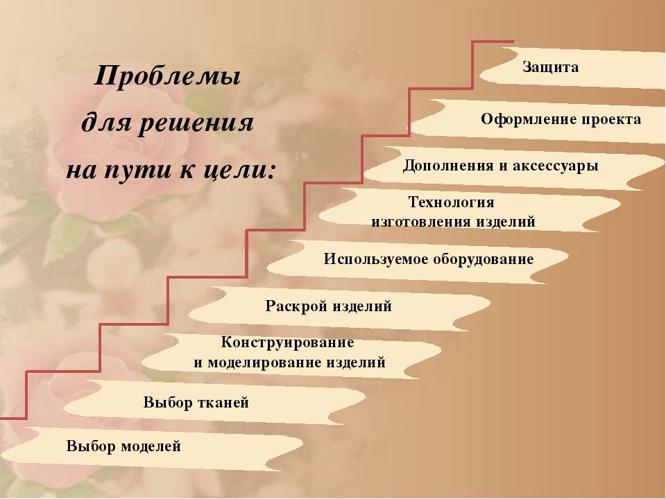 Проблемы для решения на пути к цели: Выбор моделей Выбор тканей Конструирова...
