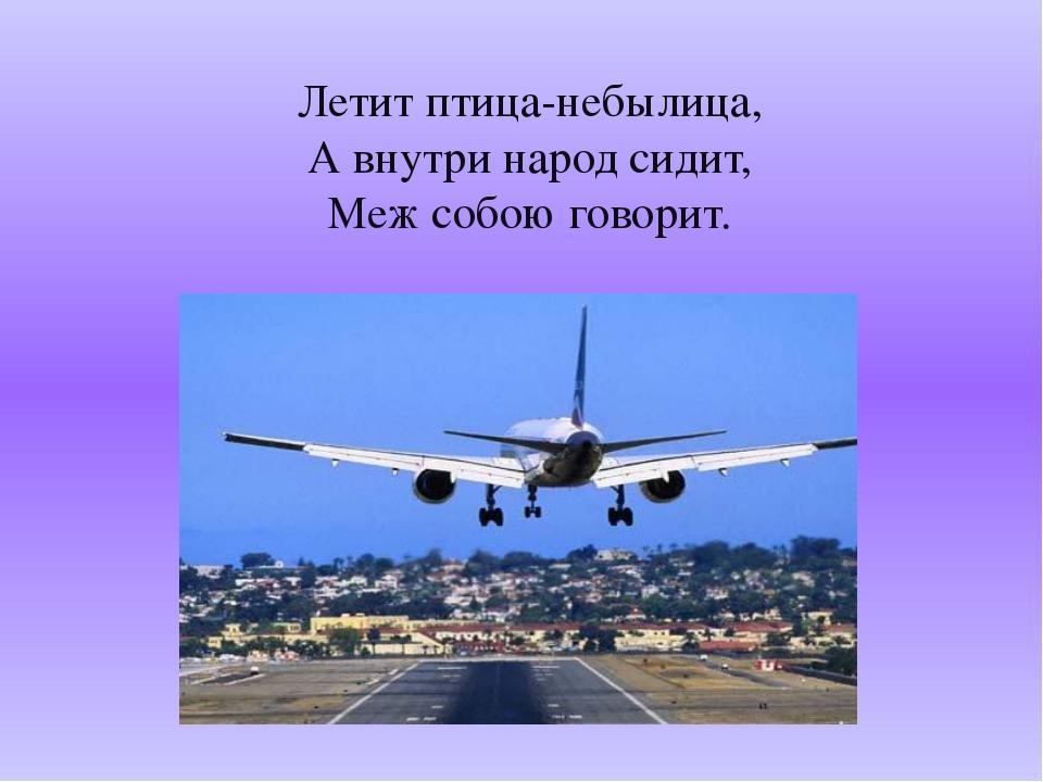 Летит птица-небылица, А внутри народ сидит, Меж собою говорит.