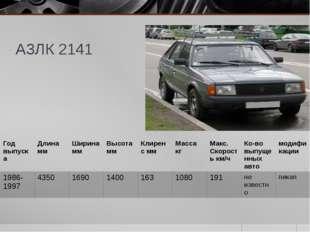 АЗЛК 2141 Годвыпуска Длина мм Ширина мм Высота мм Клиренсмм Масса кг Макс. Ск