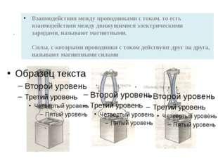 . Взаимодействия между проводниками с током, то есть взаимодействия между дви