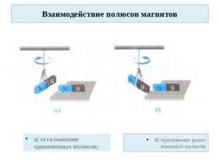 Взаимодействие полюсов магнитов а) отталкивание одноименных полюсов; б) притя
