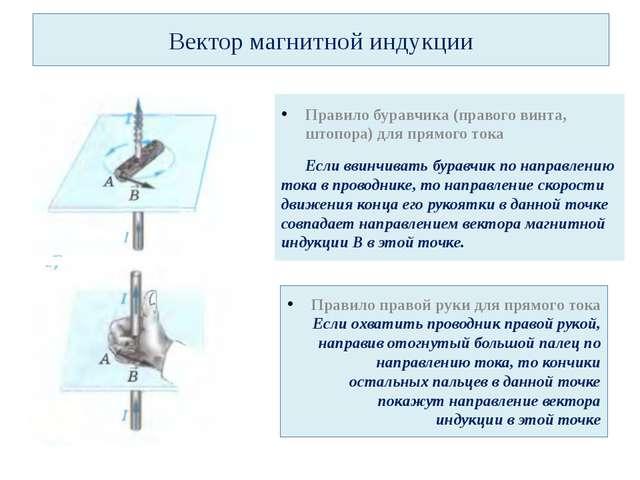 Вектор магнитной индукции Правило буравчика (правого винта, штопора) для прям...