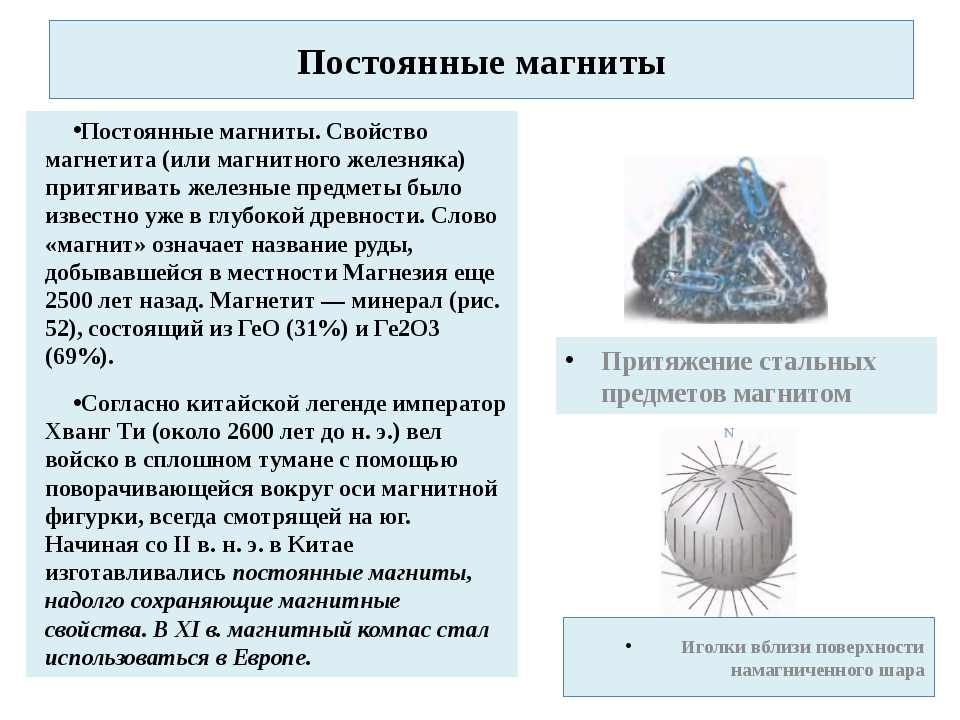Постоянные магниты Постоянные магниты. Свойство магнетита (или магнитного жел...