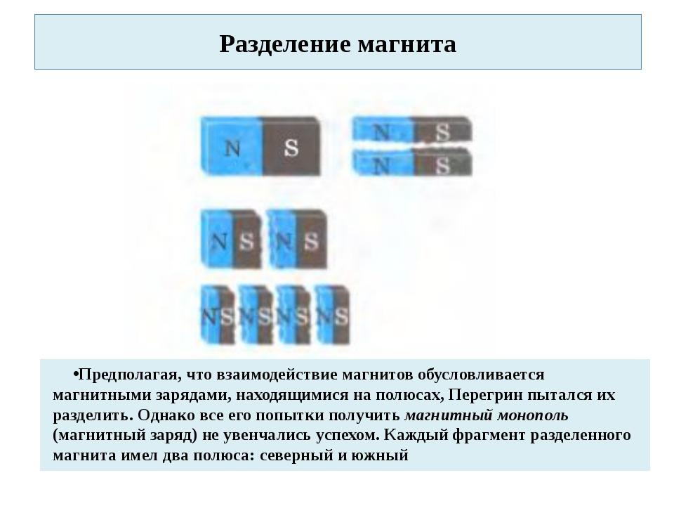 Разделение магнита Предполагая, что взаимодействие магнитов обусловливается м...