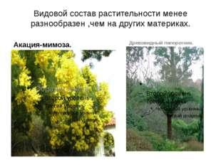 Видовой состав растительности менее разнообразен ,чем на других материках. Ак