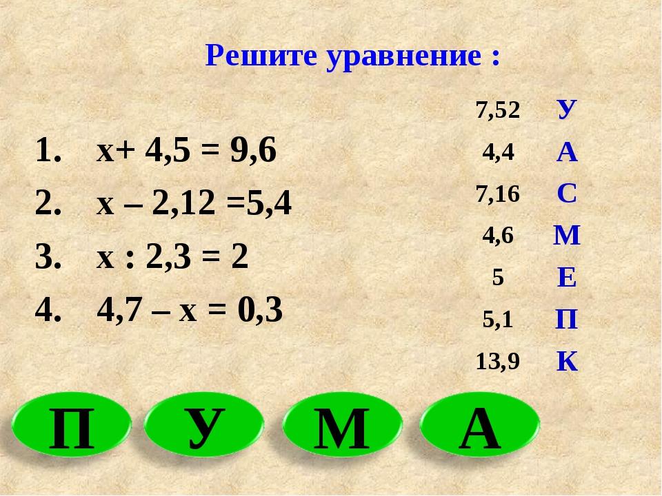 Решите уравнение : х+ 4,5 = 9,6 х – 2,12 =5,4 х : 2,3 = 2 4,7 – х = 0,3 7,52...