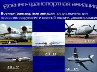 Военно-транспортная авиация предназначена для перевозок вооружения и военной