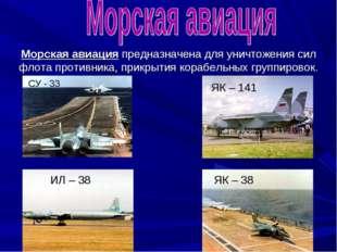 Морская авиация предназначена для уничтожения сил флота противника, прикрытия