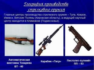 Главные центры производства стрелкового оружия – Тула, Ковров, Ижевск, Вятски