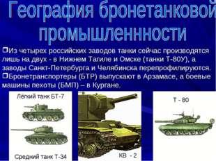 Из четырех российских заводов танки сейчас производятся лишь на двух - в Нижн