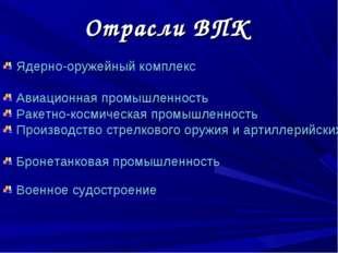 Отрасли ВПК Ядерно-оружейный комплекс Авиационная промышленность Ракетно-косм