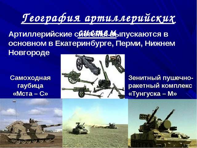 География артиллерийских систем Артиллерийские системы выпускаются в основном...
