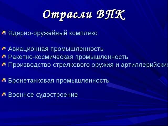 Отрасли ВПК Ядерно-оружейный комплекс Авиационная промышленность Ракетно-косм...