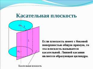 Касательная плоскость Если плоскость имеет с боковой поверхностью общую пряму