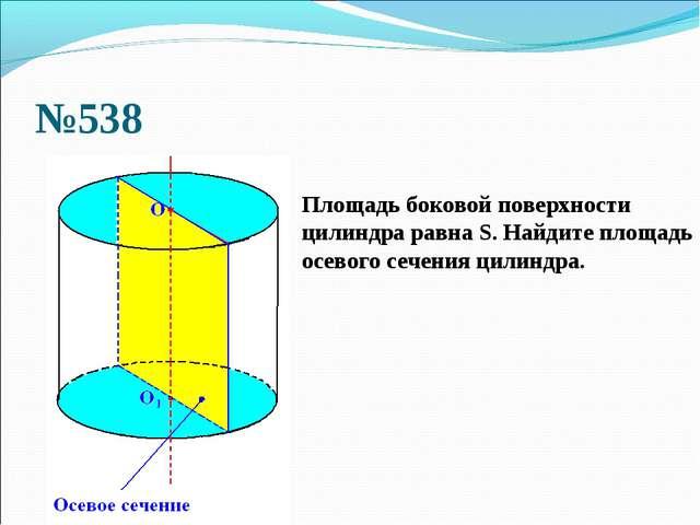 №538 Площадь боковой поверхности цилиндра равна S. Найдите площадь осевого се...
