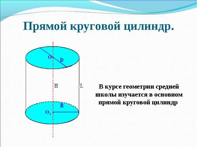 Прямой круговой цилиндр. В курсе геометрии средней школы изучается в основном...