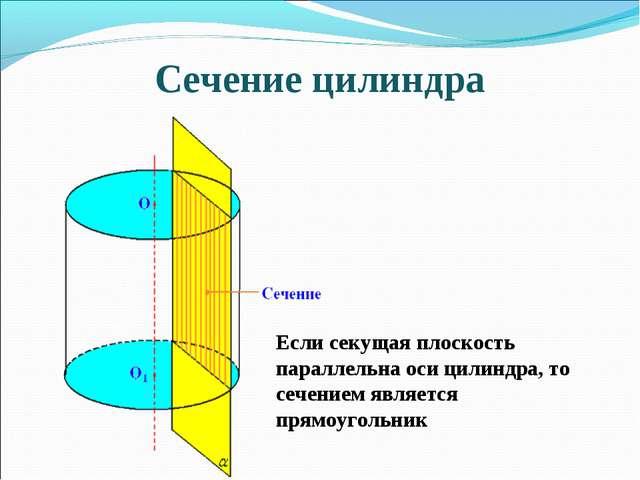 Сечение цилиндра Если секущая плоскость параллельна оси цилиндра, то сечением...