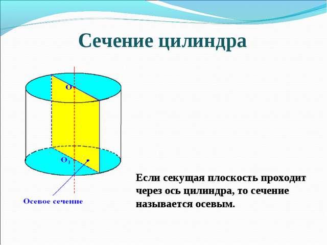 Сечение цилиндра Если секущая плоскость проходит через ось цилиндра, то сечен...