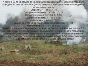 А всего с 13 по 31 августа 1943, когда 28-я гвардейская танковая бригада была
