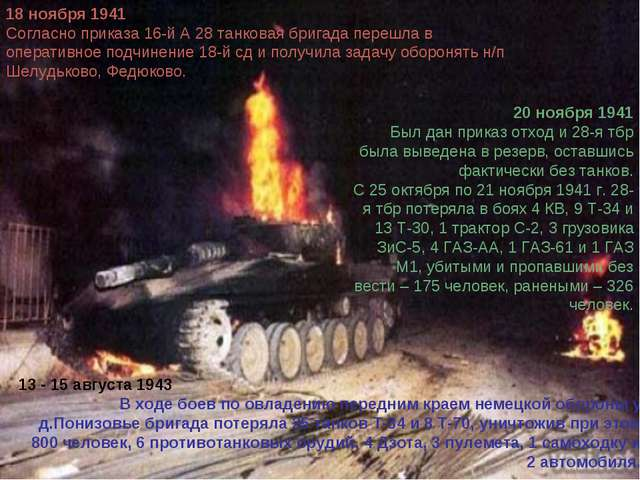 20 ноября 1941 Был дан приказ отход и 28-я тбр была выведена в резерв, оставш...