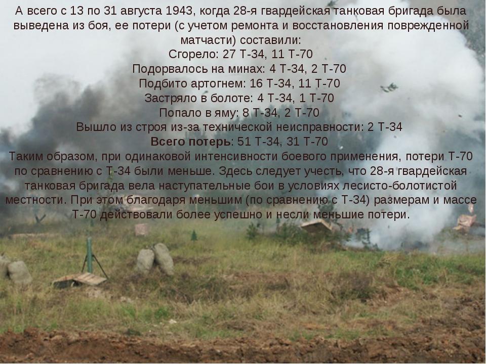 А всего с 13 по 31 августа 1943, когда 28-я гвардейская танковая бригада была...