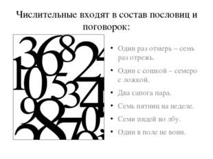 Числительные входят в состав пословиц и поговорок: Один раз отмерь – семь раз