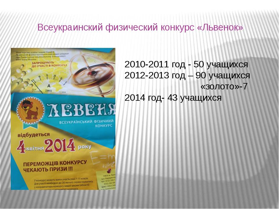 Всеукраинский физический конкурс «Львенок» 2010-2011 год - 50 учащихся 2012-2...