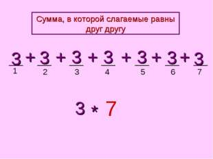 1 2 3 4 5 3 3 3 3 3 + + + + 3 7 * + 3 + 3 6 7 Сумма, в которой слагаемые равн