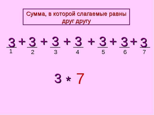 1 2 3 4 5 3 3 3 3 3 + + + + 3 7 * + 3 + 3 6 7 Сумма, в которой слагаемые равн...