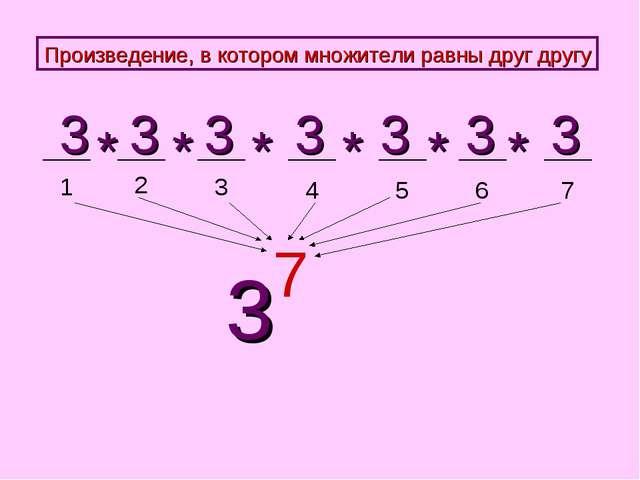1 2 3 4 5 3 3 3 3 3 * * * * 3 7 Произведение, в котором множители равны друг...