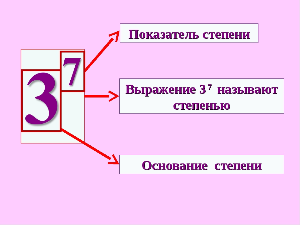 Показатель степени Основание степени Выражение 3 7 называют степенью