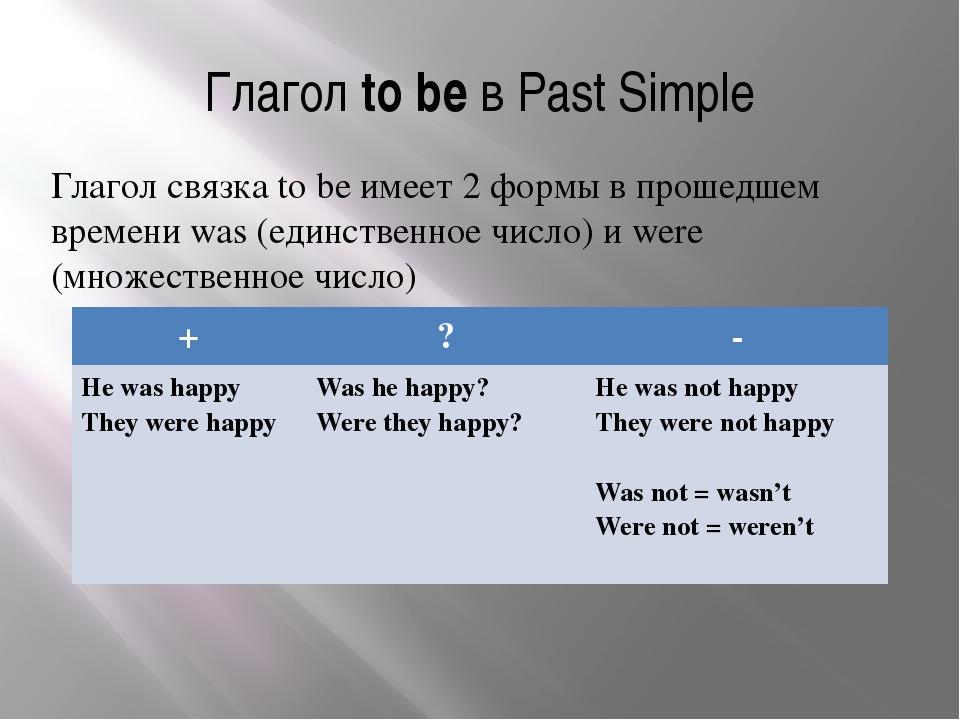 Глагол to be в Past Simple Глагол связка to be имеет 2 формы в прошедшем врем...
