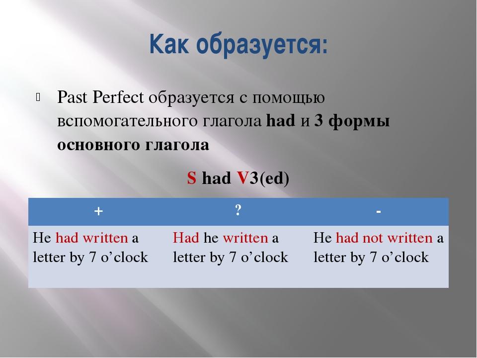 Как образуется: Past Perfect образуется с помощью вспомогательного глагола ha...