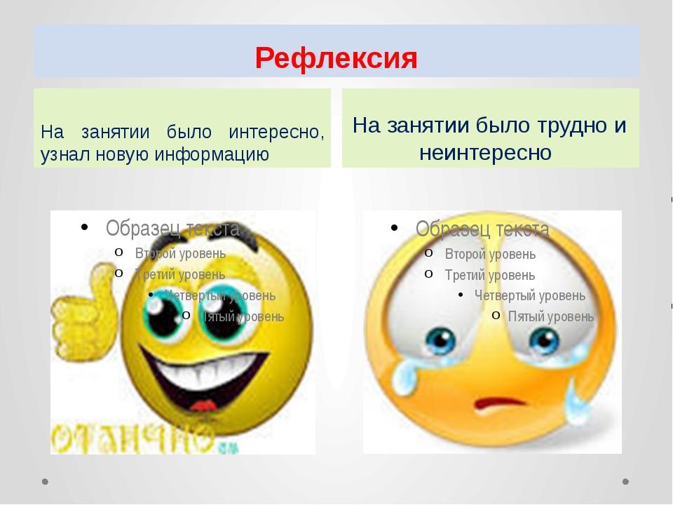 Рефлексия На занятии было интересно, узнал новую информацию На занятии было т...