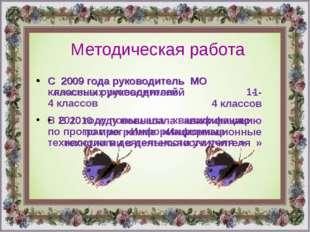 С 2009 года руководитель МО  классных руководителей 1- 4 классов В 2010 г