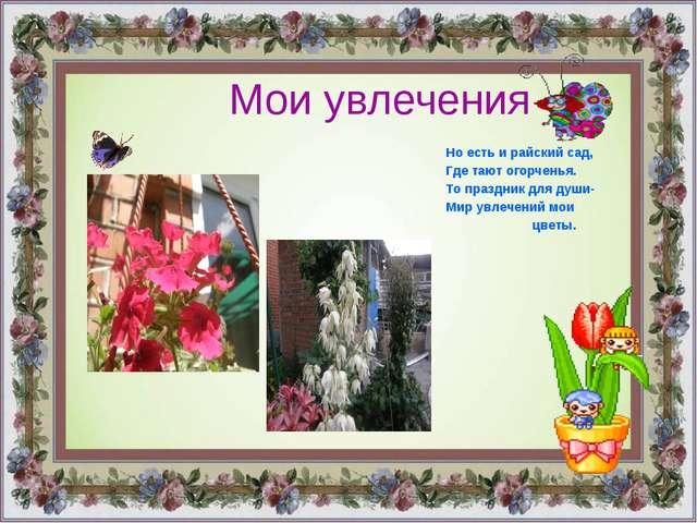 Мои увлечения Но есть и райский сад, Где тают огорченья. То праздник для души...