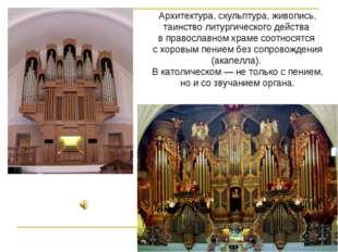 Архитектура, скульптура, живопись, таинство литургического действа в правосла