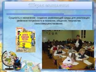 Сущность и назначение: создание развивающей среды для реализации ребёнком пот