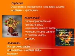 Гербарий Орфограмма проверяется латинским словом «гербум» - «растение». Кори