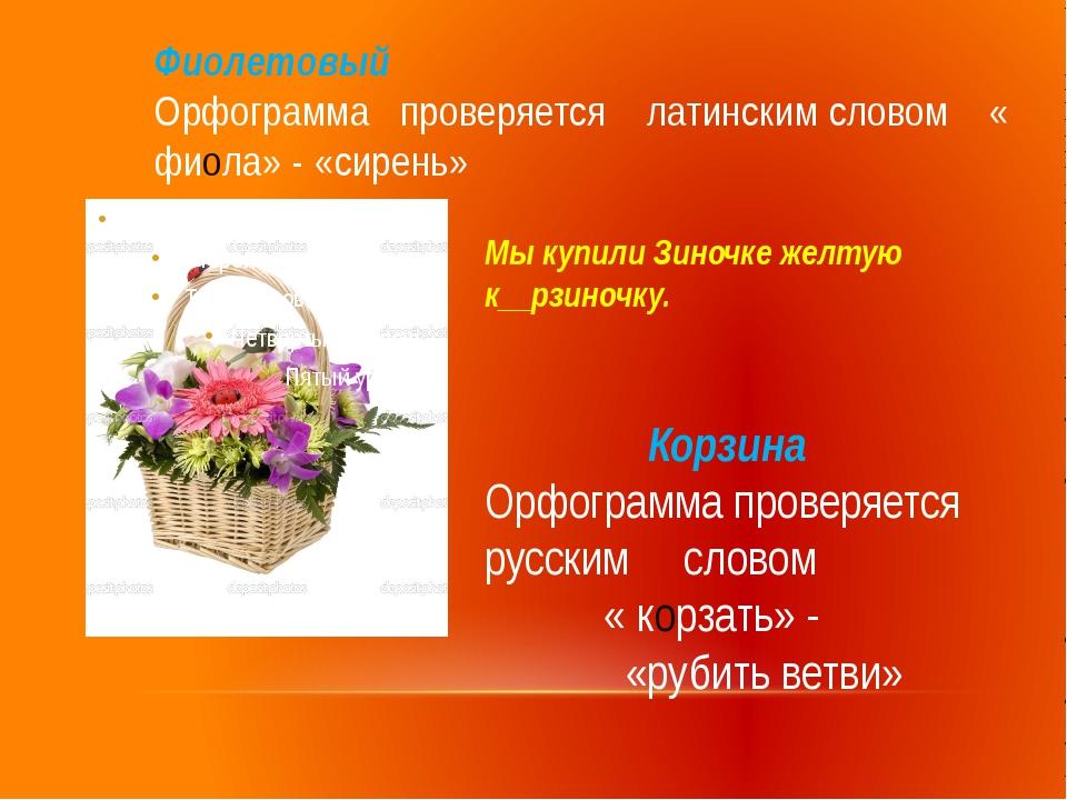 Фиолетовый Орфограмма проверяется латинским словом « фиола» - «сирень» Корзин...