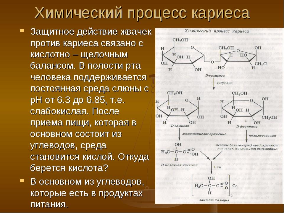 Химический процесс кариеса Защитное действие жвачек против кариеса связано с...