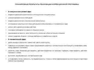 ПЛАНИРУЕМЫЕ РЕЗУЛЬТАТЫ РЕАЛИЗАЦИИ КОРРЕКЦИОННОЙ ПРОГРАММЫ В коммуникативно-ре