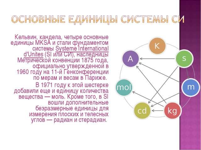 Кельвин, кандела, четыре основные единицы MKSA и стали фундаментом системыS...
