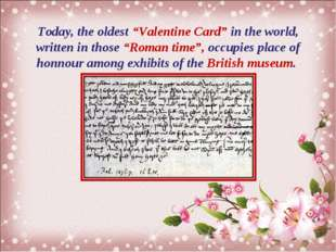 "Today, the oldest ""Valentine Card"" in the world, written in those ""Roman time"