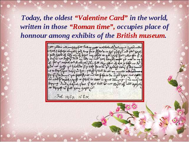 "Today, the oldest ""Valentine Card"" in the world, written in those ""Roman time..."