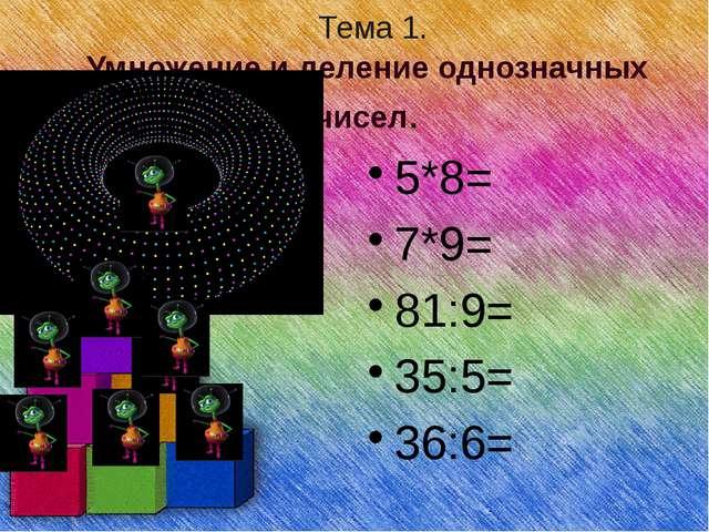 Тема 1. Умножение и деление однозначных чисел. 5*8= 7*9= 81:9= 35:5= 36:6=