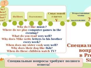 Специальные вопросы в Present Simple Подлежащее Смысловой глагол V Второстепе